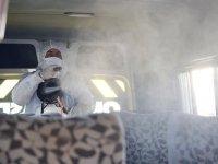 Büyükşehir okul servis araçlarını dezenfekte etti